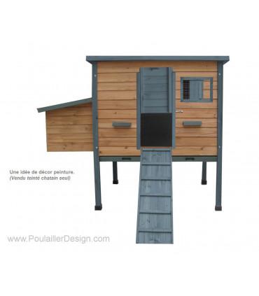 poulailler bois bungal'o peint bleu