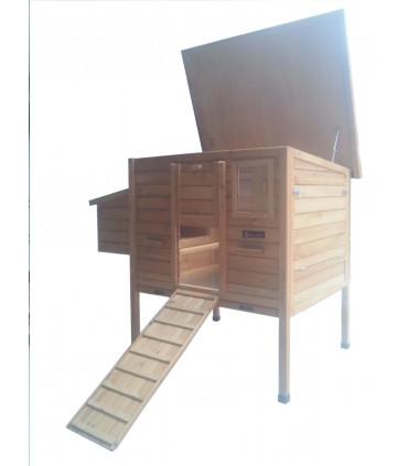 poulailler bois mobile toit vert ouvrant