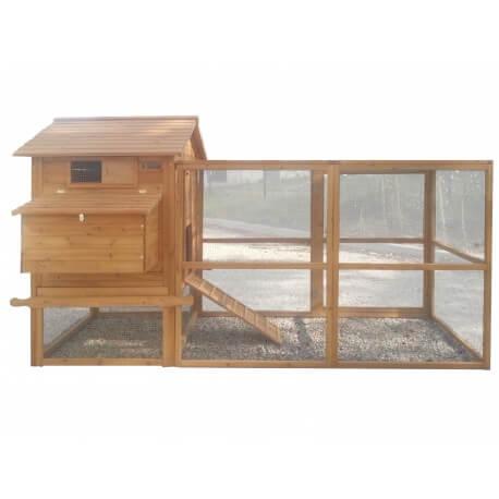 poulailler bois pour 8 poules avec enclos grillagé petite maille