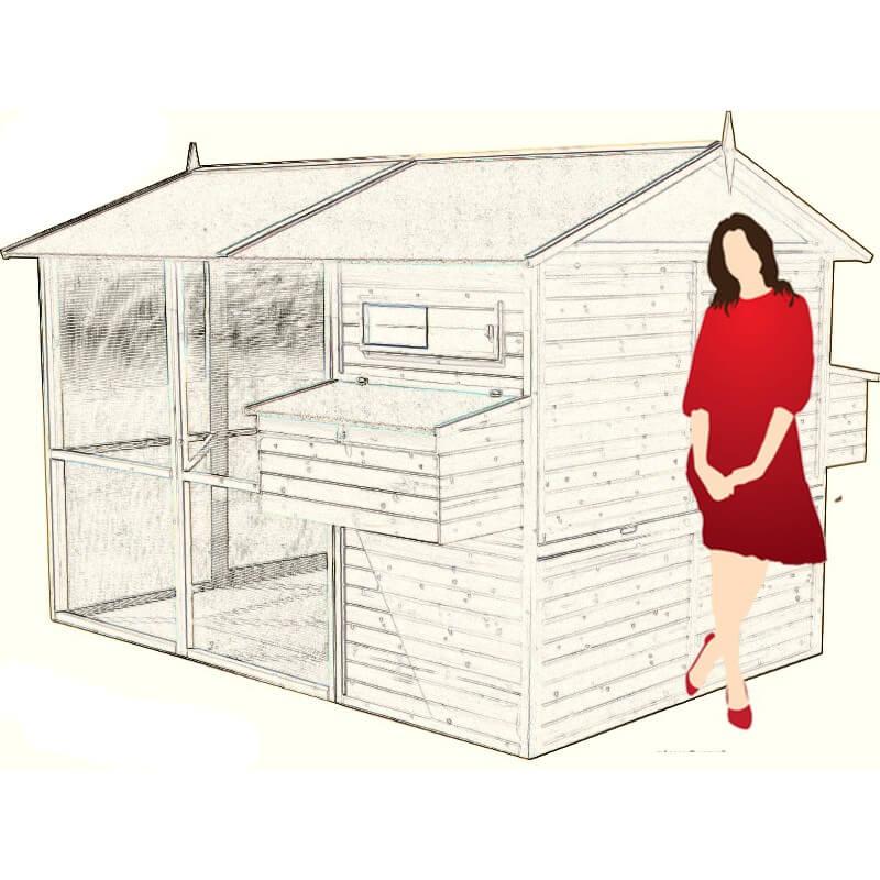 grand poulailler xl pour 12 15 poules bois plein solide construction en kit. Black Bedroom Furniture Sets. Home Design Ideas