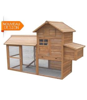 Poulailler bois mobile avec enclos pour 5/7 poules