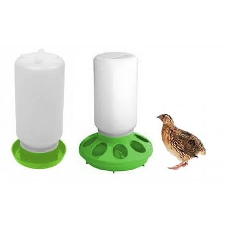 Kit mangeoire plastique et abreuvoir pour poussins et cailles