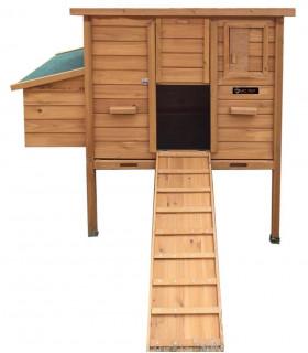 poulailler bois mobile toit vert ouvrant pour 4 à 8 poules