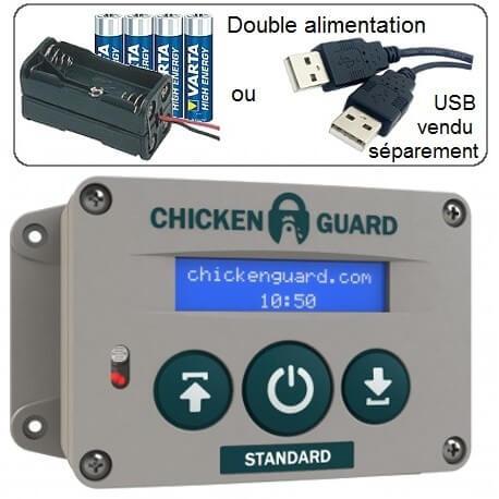 ChickenGuard moteur de poulailler alimentation piles et usbailler, version standard multi timer