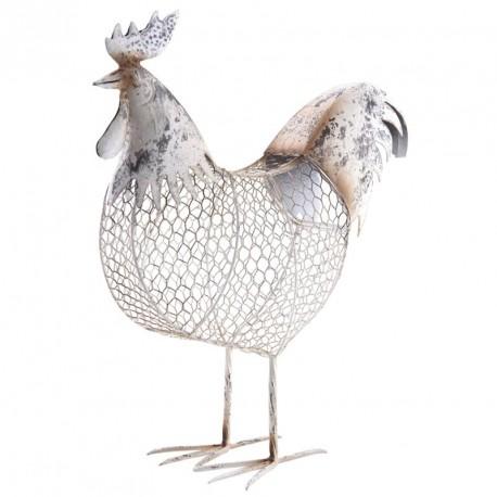 Galack, coq métal laqué et grillage à poules, déco maison basse-cour