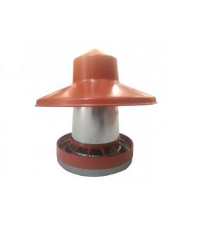 Trémie galva 10 kg avec chapeau anti-pluie et anneau anti gaspillage.