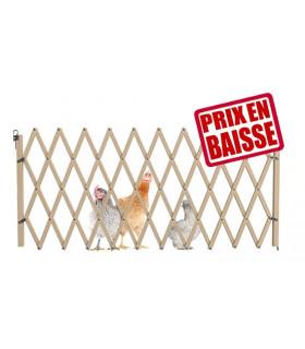 Barrière extensible en bois pour la volaille