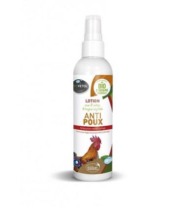 Lotion anti-poux application sur l'animal.