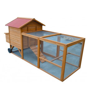 Poulailler bois avec enclos grillagé pour 4 poules, qualité et design France.