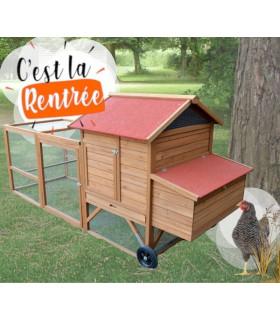 Poulailler mobile 4 poules avec volière grillagée. Design et Qualité.