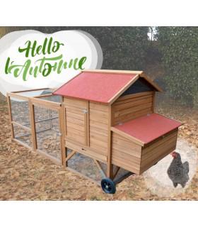 Poulailler bois mobile 4 poules, volière grillagée. Design in France, belle qualité.