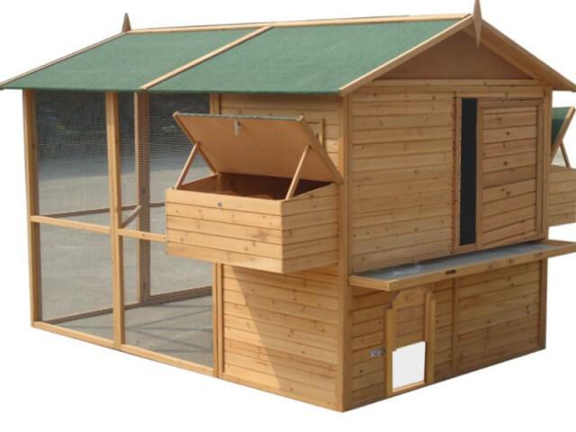 grand poulailler xl pour 15 poule avec enclos bois solide en kit. Black Bedroom Furniture Sets. Home Design Ideas